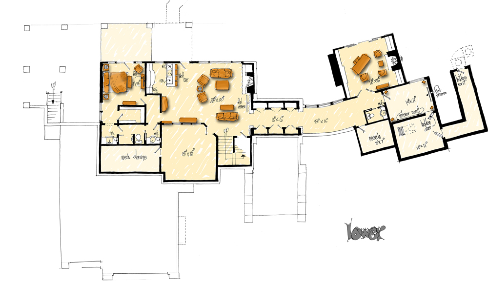 Lower Level Floor Plan image of Featured House Plan: PBH - 1006
