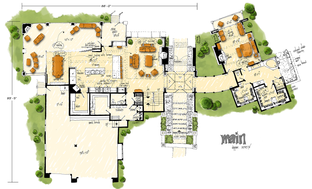 Main Level Floor Plan image of Featured House Plan: PBH - 1006
