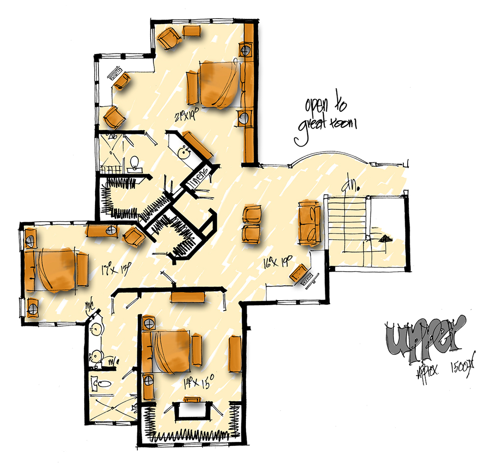 Upper Level Floor Plan image of Featured House Plan: PBH - 1006