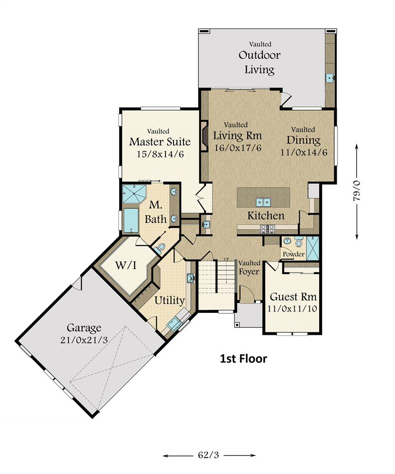 1st Floor Plan image of Featured House Plan: PBH - 3761