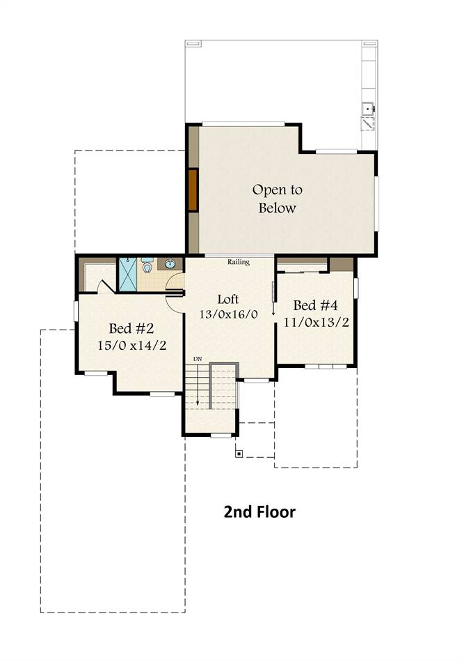 2nd Floor Plan image of Featured House Plan: PBH - 3761