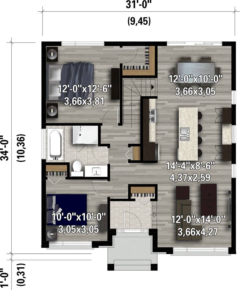 1st Floor Plan image of Featured House Plan: PBH - 7566