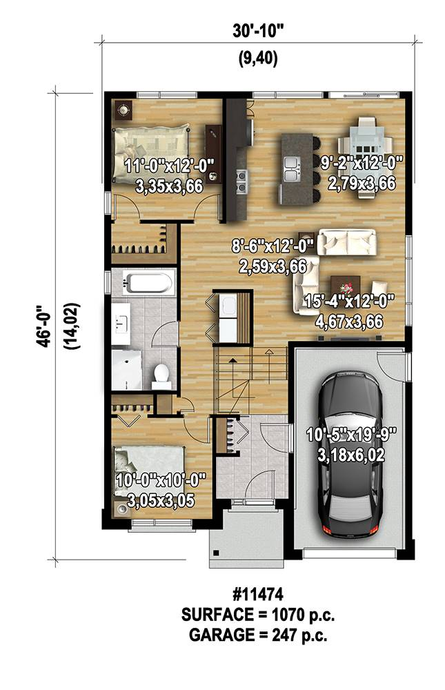 1st Floor Plan image of Featured House Plan: PBH - 7568
