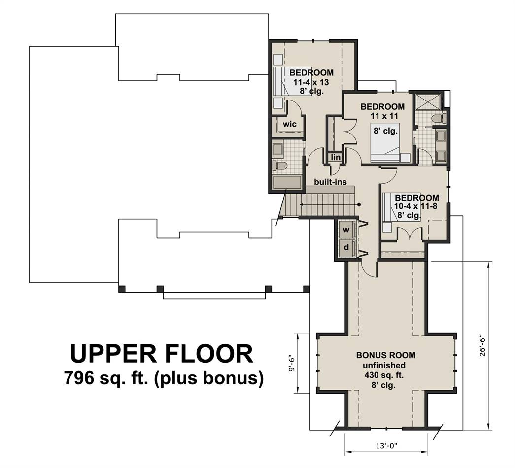 2nd Floor Plan image of Featured House Plan: PBH - 3030