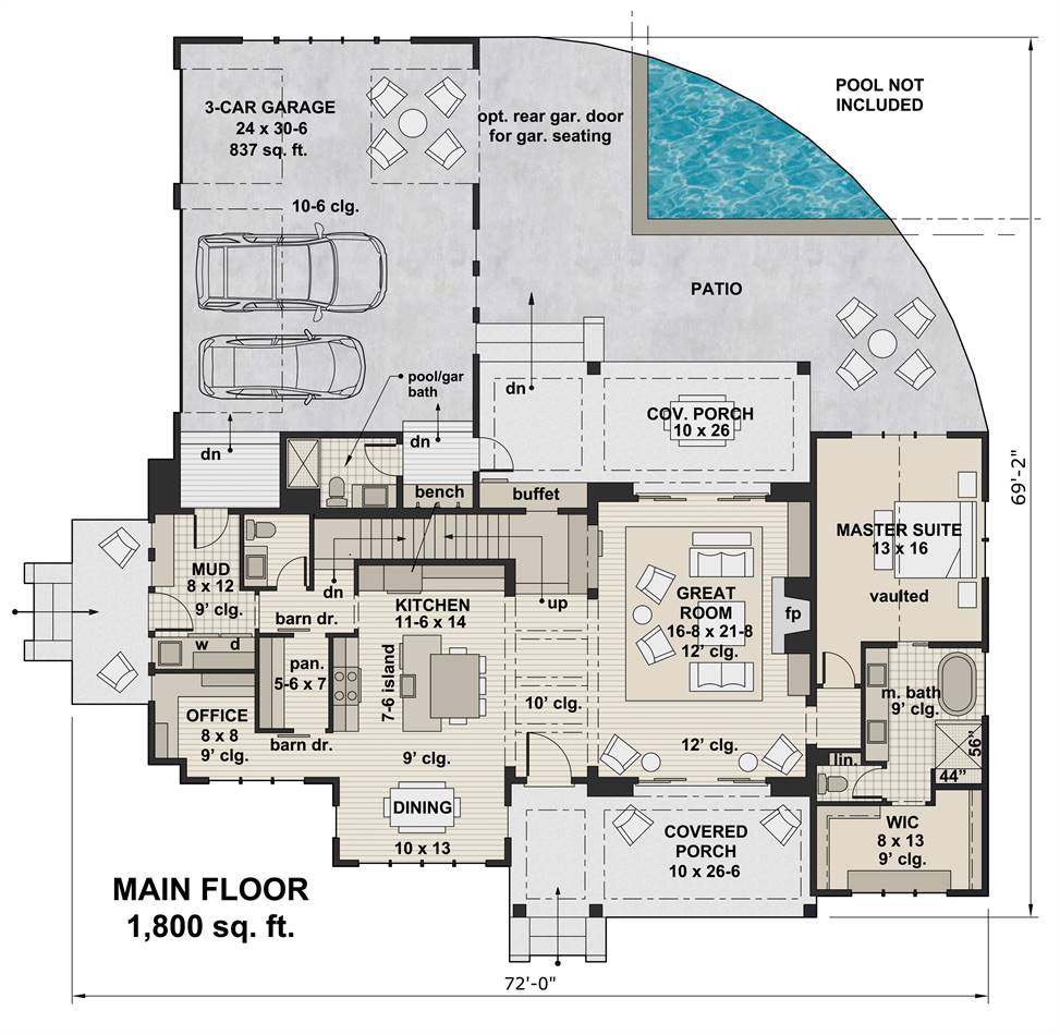 1st Floor Plan image of Featured House Plan: PBH - 3404