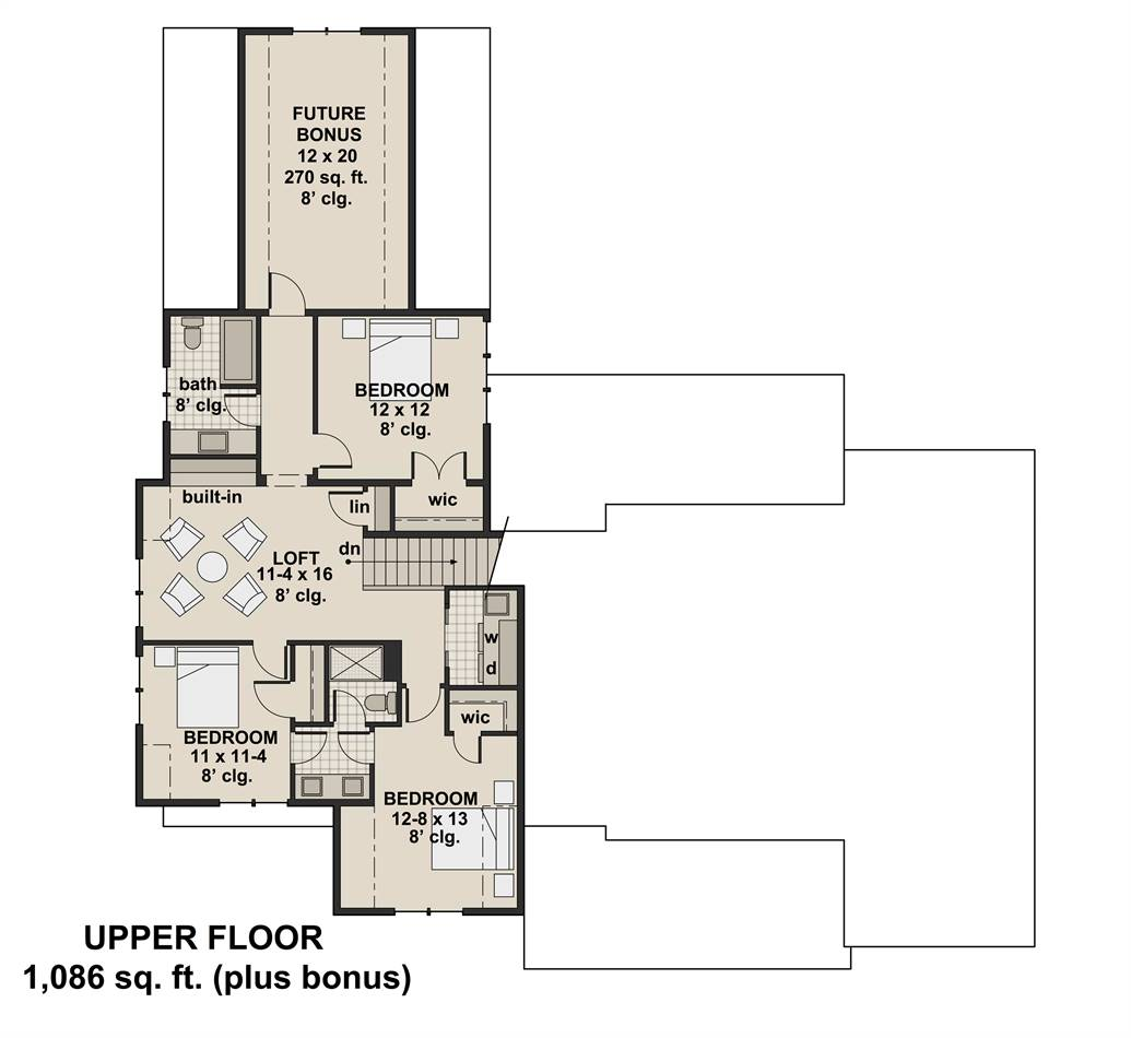 2nd Floor Plan image of Featured House Plan: PBH - 3404