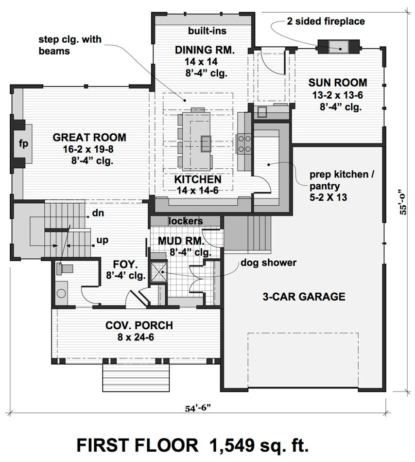 1st Floor Plan image of Featured House Plan: PBH - 2001