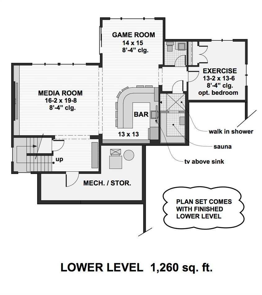 Lower Level Floor Plan image of Featured House Plan: PBH - 2001