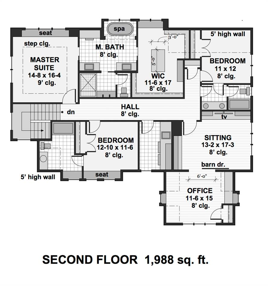 2nd Floor Plan image of Featured House Plan: PBH - 2001