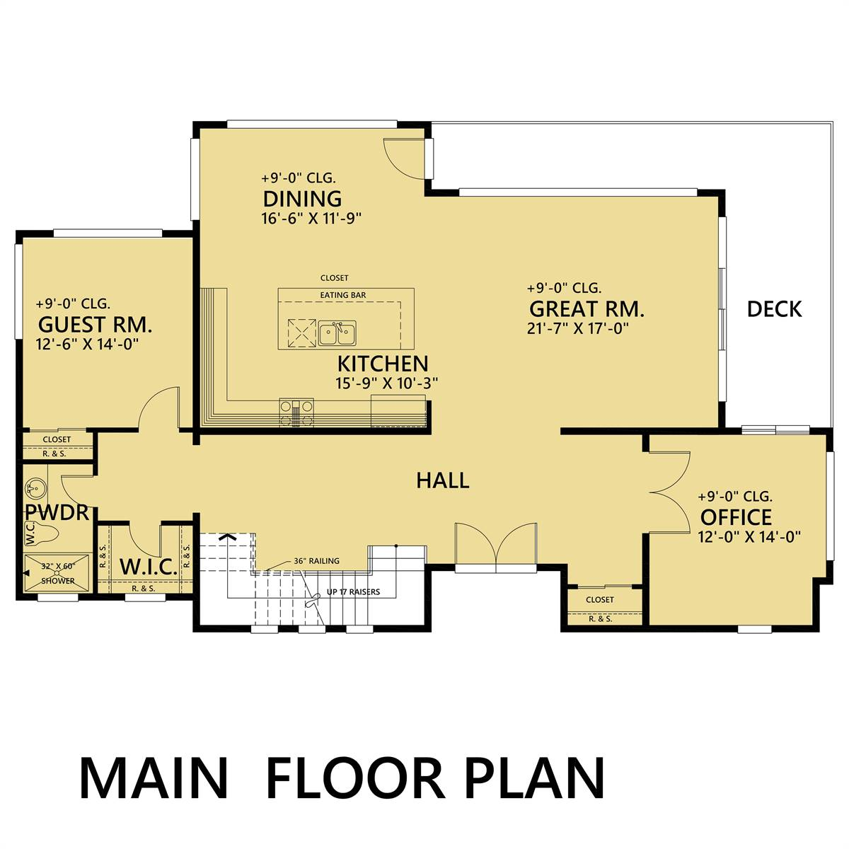 1st Floor image of Featured House Plan: PBH - 1484