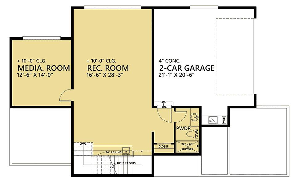 Lower Level Plan image of Featured House Plan: PBH - 1484