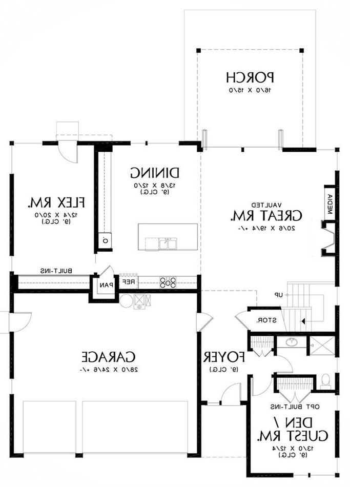 Main Floor Plan image of Featured House Plan: PBH - 5593