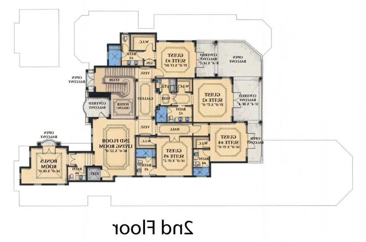 2nd Floor Plan image of Featured House Plan: PBH - 1933