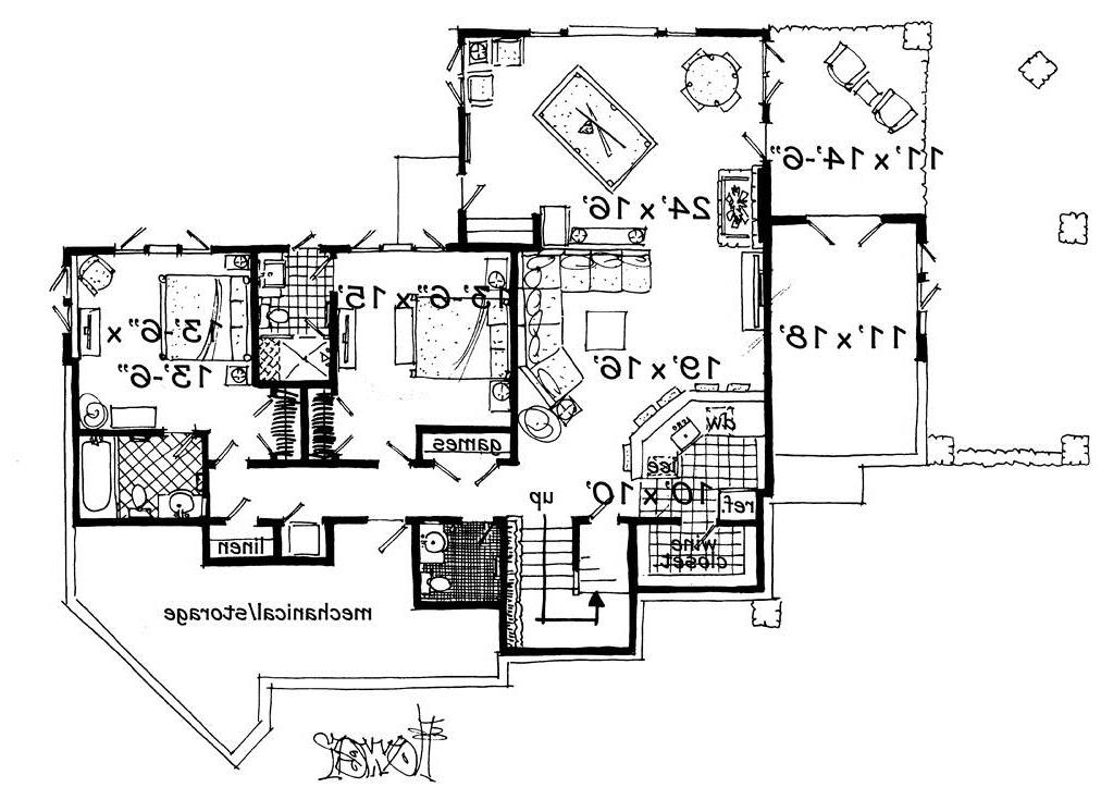 Lower Level Floor Plan image of Featured House Plan: PBH - 3110