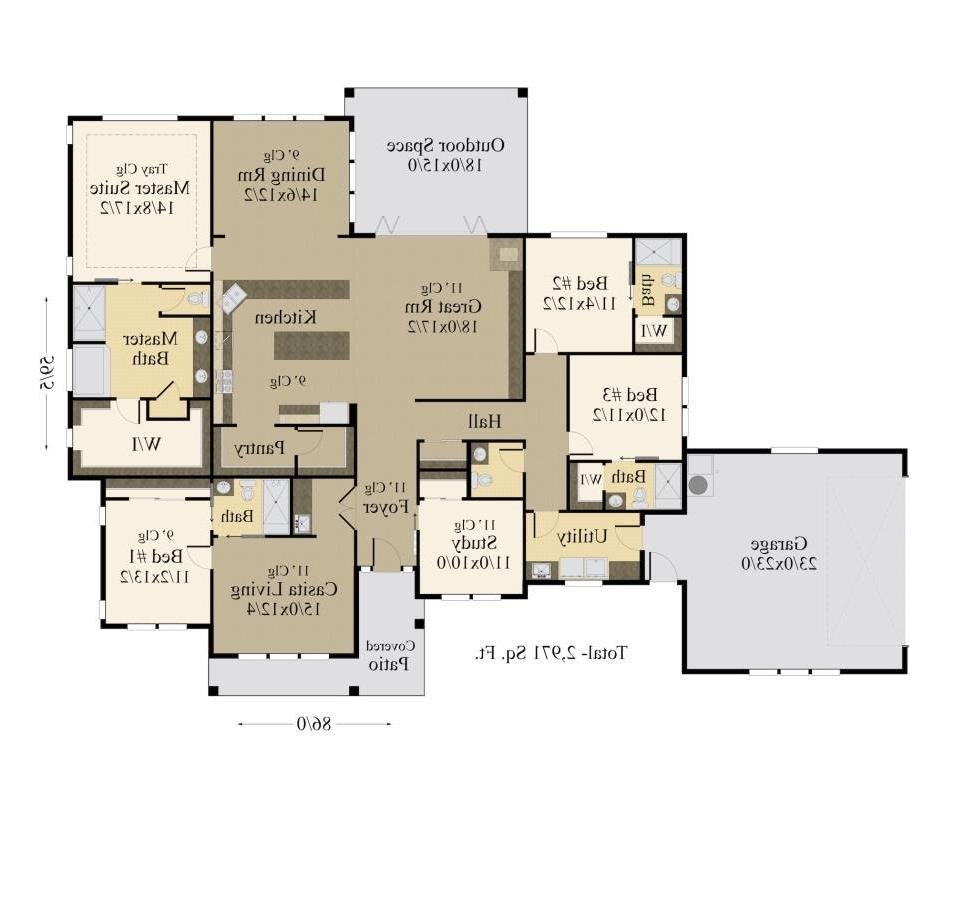 1st Floor Plan image of Featured House Plan: PBH - 7508